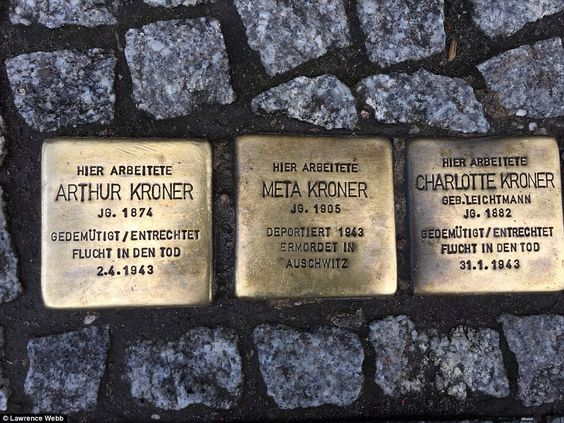 Much smaller reminders of Hitler's regime can be found dotted about the city, right under your feet, such as these 4in brass-topped paving stones, which feature the name and date of birth and death of victims of the Nazis. They are the creation of artist Gunter Demnig
