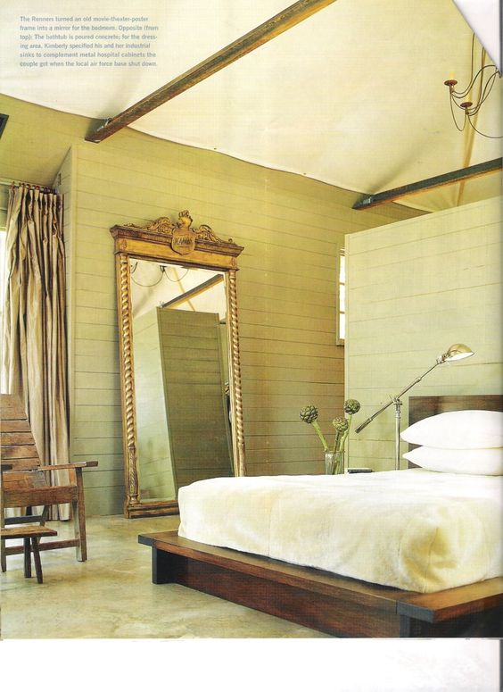 modern bedroom w canvas ceiling taupe painted wall planks mirror