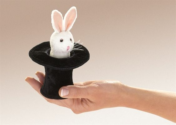 Plush Rabbit in Top Hat Mini Finger Puppet By Folkmanis Puppets  Getting this one!!!