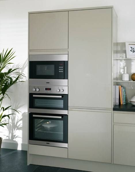 Howdens Gloss Flint Grey Integrated Handle  I like 2  ovens and microwave on the same wall.