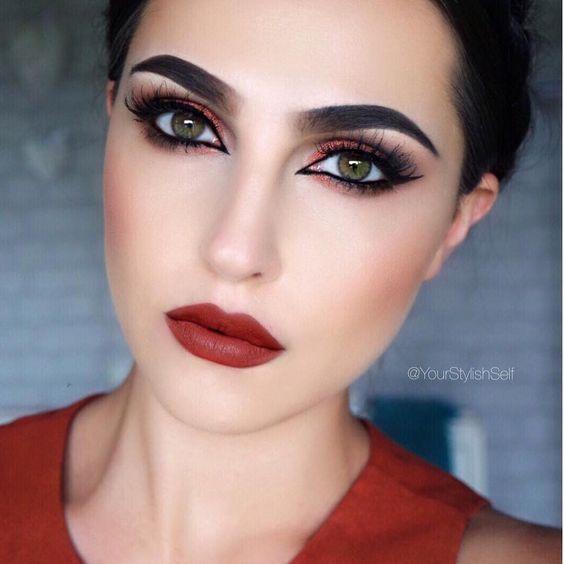Makeup Geek Eyeshadows in Corrupt and Cocoa Bear + Makeup Geek Foiled Eyeshadow in Flame Thrower + Makeup Geek Contour Powders in Bad Habit and Half Hearted. Look by: yourstylishself
