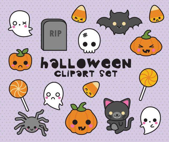 Premium Vector Clipart  Kawaii Halloween by LookLookPrettyPaper