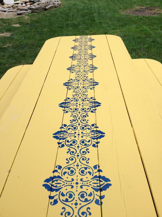 Hand painted picnic table-shabby chic for adding color to ...