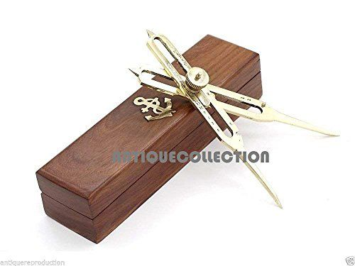 Solid Brass Proportional Divider Marine Navigation Compass With Wooden Box