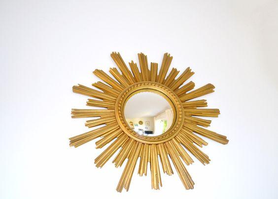 Miroir soleil dor oeil de sorci re vintage miror for Miroir soleil oeil sorciere