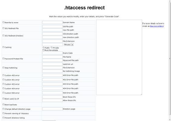 Free .htaccess Redirect Generator