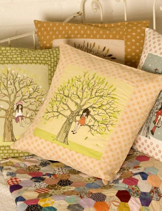 the Belle & Boo range of cotton hand-finished cushions featuring the Belle & Boo original prints and finished with hand-embroidery