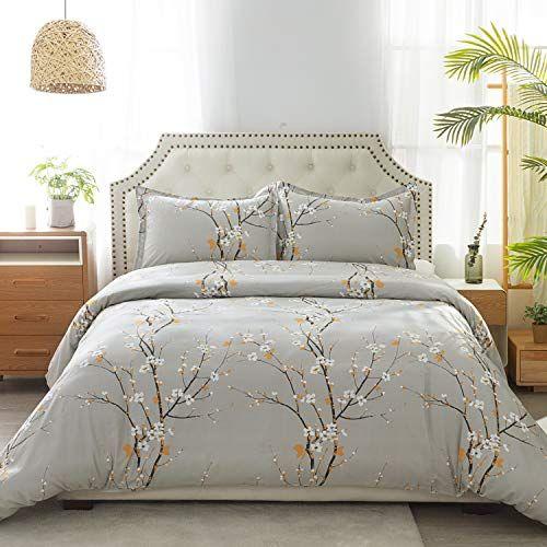 Bedsure 100 Cotton Floral Duvet Cover Set Full Queen Size 90 90 Inches Plum Blossom Pattern 3 Pieces 1 Duvet Cover 2 Pillow Shams Duvet Covers With In 2020 Duvet Cover Sets Floral Duvet Cover Duvet Covers