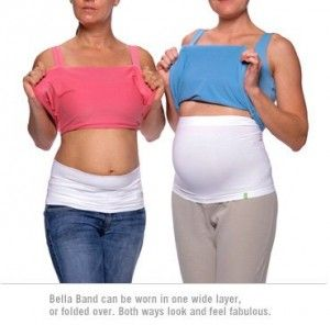Wear a belly band while exercising to help stabilize and minimize wiggle and jiggle.