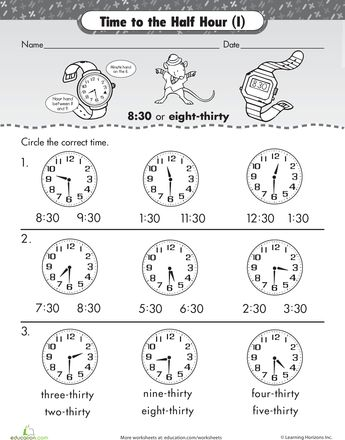 Printables Telling Time To The Hour And Half Hour Worksheets on the half hour telling time with malcolm mouse creative to worksheets mouse