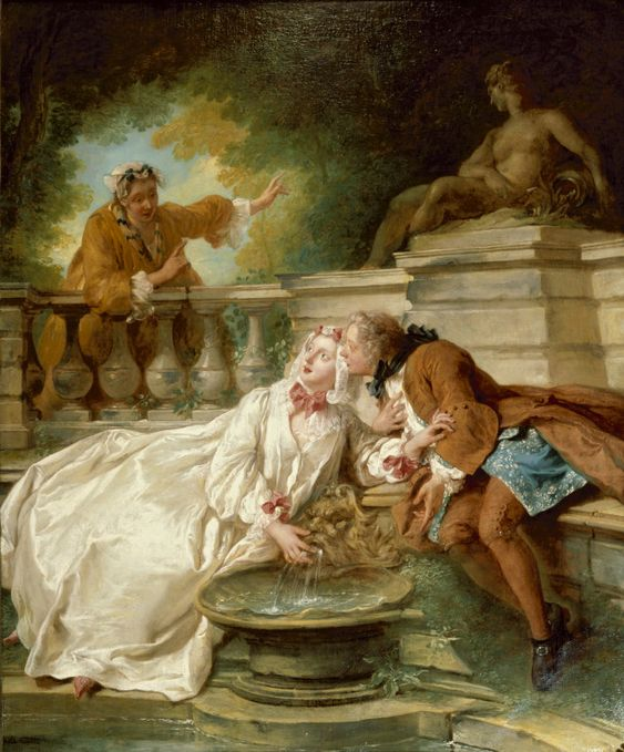 The Alarm (1723) by Jean-François de Troy specialized in history painting and genre painting with erotically charged scenes, for which he became best known. He was one of the leading painters of the Parisian high society .  This painting is a good example of the gallant pieces fashionable in the 18th-century France. It depicts a secret rendezvous set in a romantic garden by a fountain while a maid interrupts the conservation with a dramatic gesture. This paintin