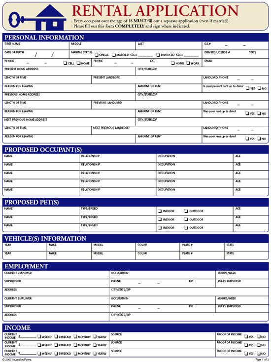 Free Rental & Lease Application Forms | Ez Landlord Forms | Rental