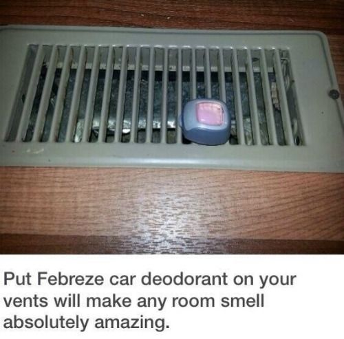 Dorm Room Hacks and Tips - Use Febreze Car Clips and add to Air Vents to Help Freshen the Room. More College Tips on Frugal Coupon Living.: