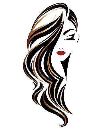 Illustration Of Women Long Hair Style Icon Emblem Women On White Background Vector Em 2020 Logotipo De Salao Logotipo Salao De Beleza Estilos De Cabelo Comprido