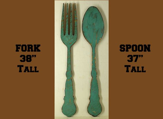 Hey, I found this really awesome Etsy listing at https://www.etsy.com/listing/399408239/fork-and-spoon-vintage-look-turquoise