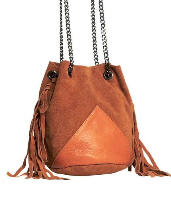 "ETAM Sac en cuir à franges ""Zoé"" / Leather fringe bag"