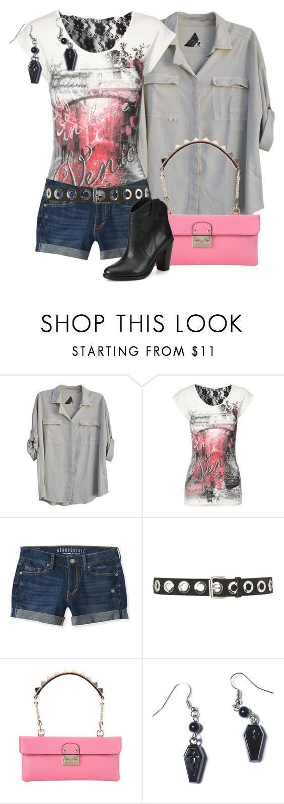 """""""Sourpuss"""" by meltog ❤ liked on Polyvore featuring Seneca Rising, Jane Norman, Aéropostale, Topshop, Valentino, Sourpuss, Joie, women's clothing, women's fashion and women"""