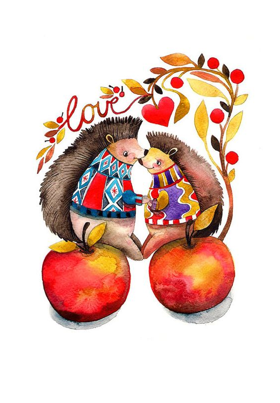 Hedgehog Love Valentine's Day Watercolor Illustration Woodland Apple Forest Feaves Tangerine Tango Red Heart. $25.00, via Etsy.