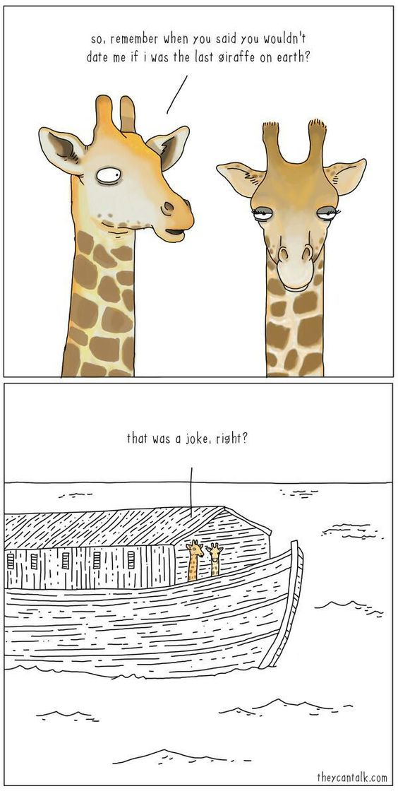The last giraffe to date on Noah's ark. Buahaha!!! -- SDA, Seventh Day Adventist, funny meme, Christian humor, bible story comic: