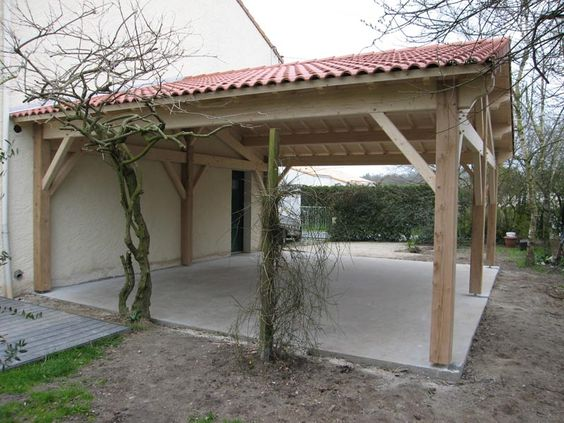 Préau, Auvent, Carport : Constructions Bois - Abri La Romagne