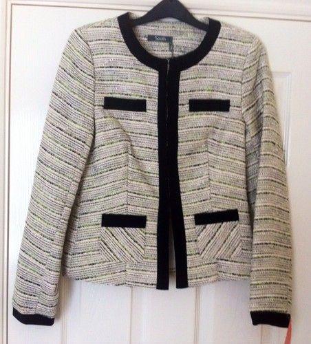 New - South Multi Tweed Black Trim Textured Ivory Jacket Size 8 - RRP £49.00