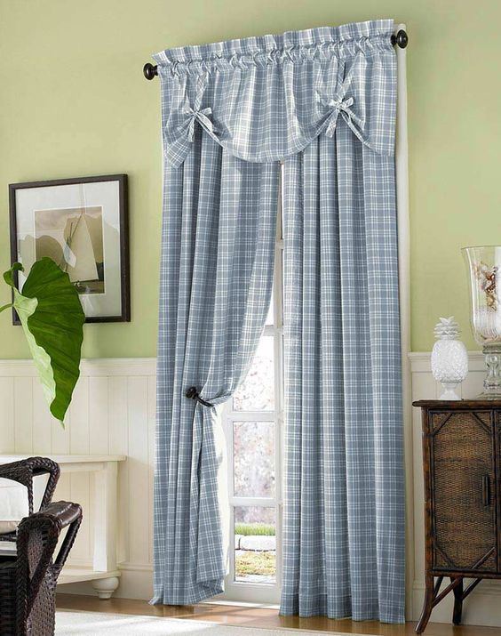 Country Plaid Cotton Casual Curtain Panel / Curtainworks.com ...