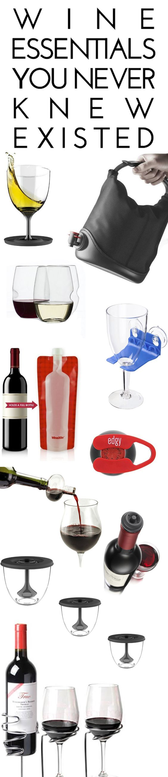 Wine Essentials You Never Knew Existed: Bathtub Wine Glass Holder, Collapsible Wine Glasses, Foldable Wine Bag, Wine Coat, Wine Bottle Foil Cutter, Picnic Stix Wine Stakes, and more.    Amazon.com