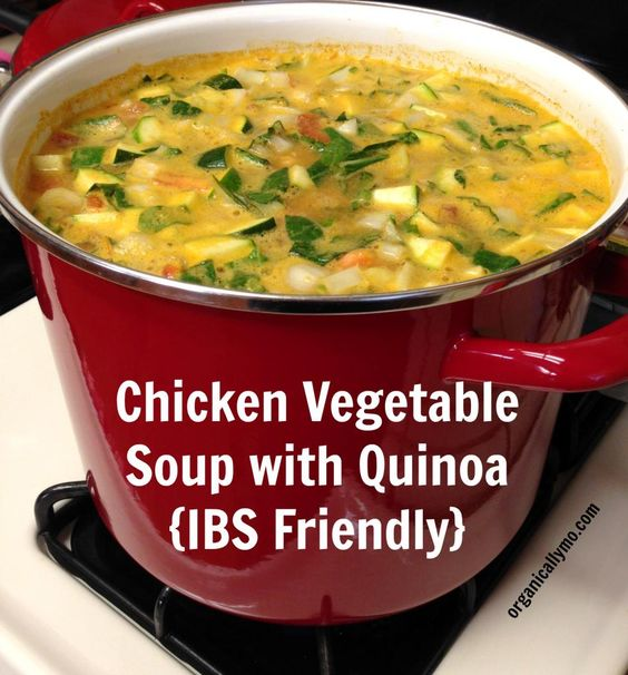 Chicken Vegetable Soup with Quinoa {#IBS Friendly} - via Organically Mo