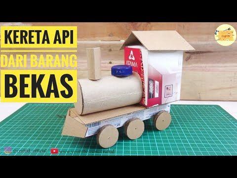 How To Make A Train From Paper Cara Membuat Kereta Api Dari Barang Bekas Youtube Train Crafts Train Video Train