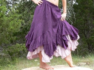 Long Length L/XL Layered Gypsy Skirt Renaissance Pirate Peasant Dark Purple | eBay
