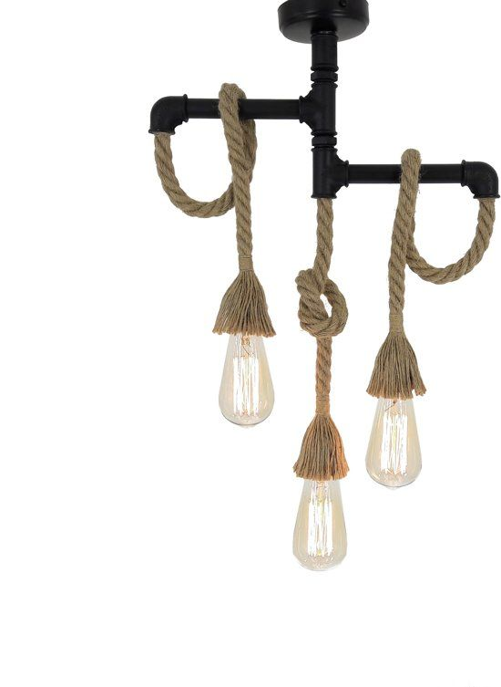 Fienzi Robuust Design 3 Lampen Chandelier Met Touw Industriele Stijl Metalen Industriele Stijl Hanglamp Lampen