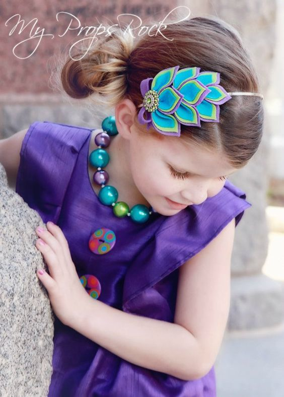Wool Blend Felt Posh Peacock Blingy Button Headband by MyPropsRock, $18.00