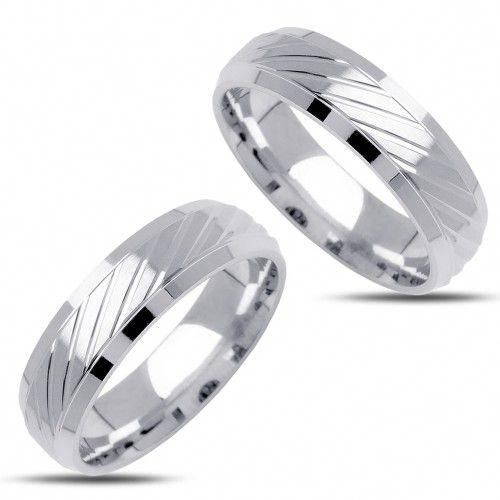 10k White Gold Polish Ladies And Mens Wedding Bands 6mm 02430 Beautiful His And Her Wedding Rings Wedding Ring 6mm Mens Wedding Bands 6mm