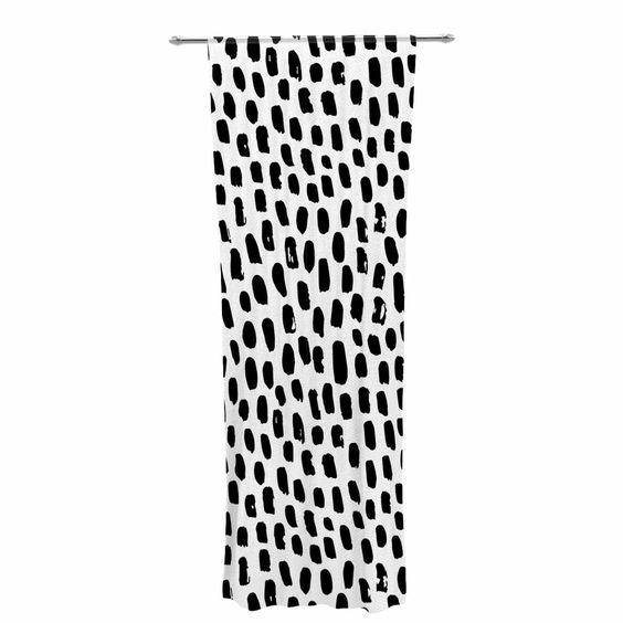"Kess Original ""Ink Dots"" Black White Decorative Sheer Curtain"