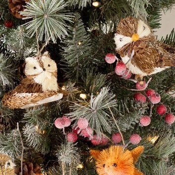 2-Piece Bristle Fox and Bird Ornament Set