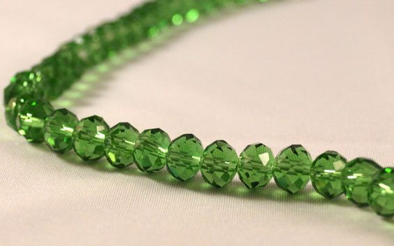 Full Strand Faceted Crystal Rondelle Green Beads 8 by IgrokColors, $4.50
