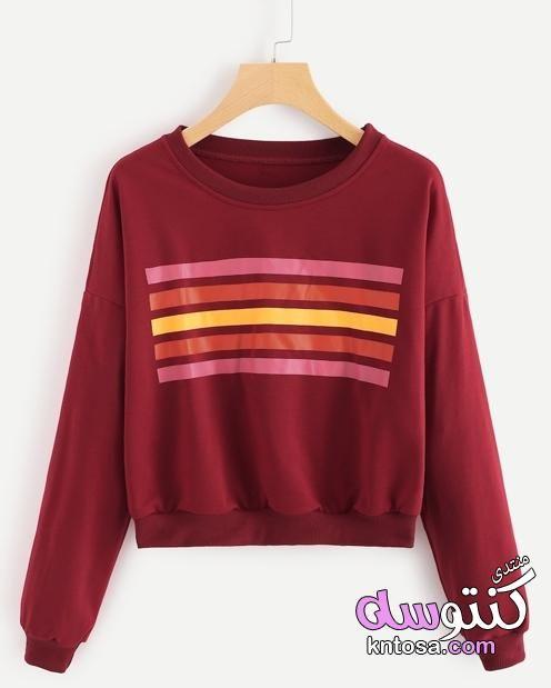 بلوفرات شتوى مميزة بلوفرات مودرن للبنات روعه بلوفرات الشتاء2019 احلى بلوفرات بناتى شتوي Kntosa Com 20 18 154 Sweatshirts Round Neck Sweatshirts Striped