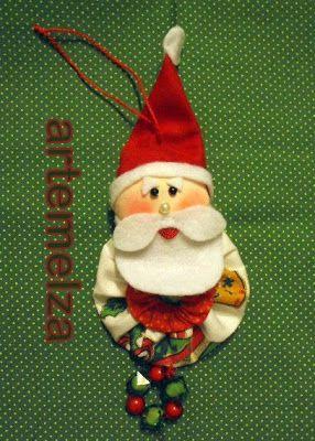 ARTEMELZA -  Arte e Artesanato: Fuxico–Papai Noel para árvore | Yo-yo - Santa Clau...