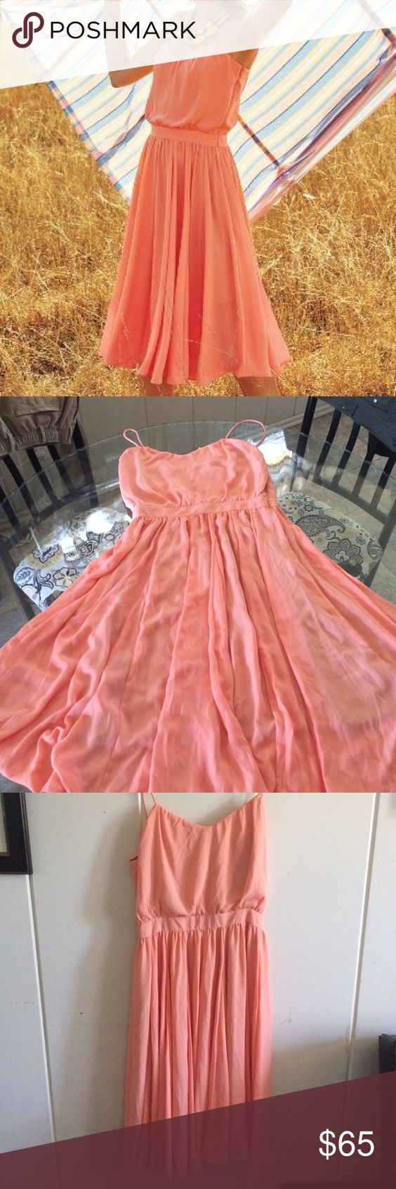 Paper Crown Peach Tree Dress Anthropologie Gorgeous dress😍😍😍 Fashion line by Lauren Conrad. Very elegant. Has a tiny snag check the last pic, almost unnoticeable. Measurement from underarm laying flat is 34' Bust is 19'. Please make reasonable offers with the button offer only. Anthropologie Dresses