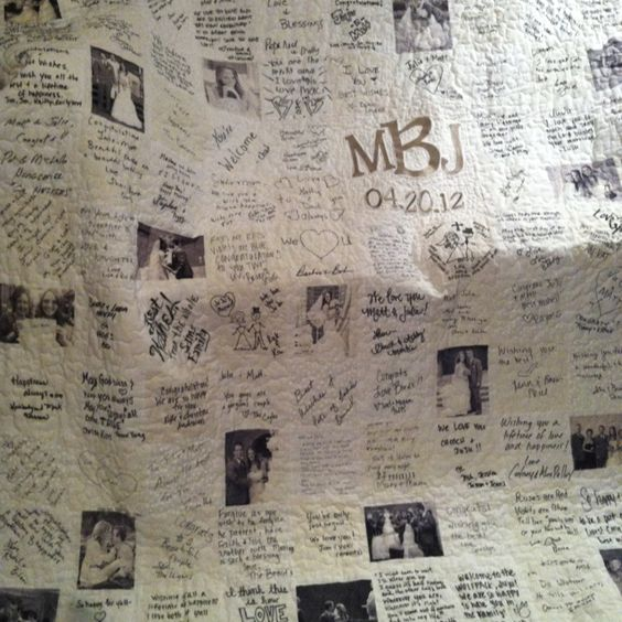 Wedding Quilt...Instead of the usual guest book, have family and friends sign a fabric square at the reception.  Then they can be sewn together to make a wonderful keepsake.