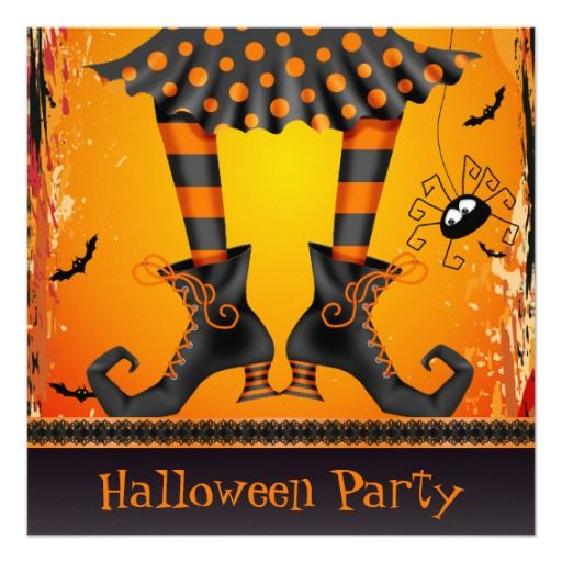 Funky Whimsical Witch Legs Halloween Party 5.25x5.25 Square Paper Invitation Card