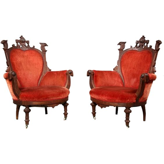 7144 Pair of Victorian Carved Walnut Eagle Arm Chairs from antiquariantraders on…