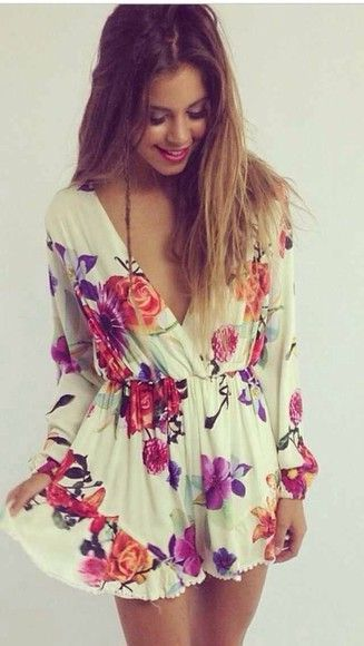 dress white- floral- flowy- long sleeves shorts summer flowers ...
