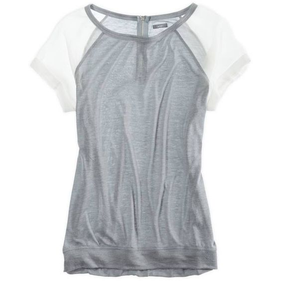 Aerie Chiffon Sleeve T-Shirt (210 ARS) ❤ liked on Polyvore featuring tops, craig, shirts, slab grey, chiffon shirt, grey shirt, long sleeve tops, long sleeve shirts and sheer sleeve top