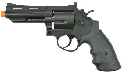 """HFC HG-132 4"""" Barrel Gas Revolver, Black airsoft gun by HFC. Save 26 Off!. $44.95. The HFC HG-132 4"""" Barrel Gas Revolver is a reliable gun for airsoft enthusiasts interested in target shooting and casual plinking. The gun is a heavyweight, reliable 6-shooter and features a 4"""" barrel, fully adjustable rear site, and shoots at a velocity of 280 fps (using .20g BBs). The HFC HG-132 4"""" is green gas-powered and can be loaded just like a real revolver. Take aim and fire today! Recommended for ..."""