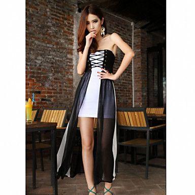 Women's Bandage Sheer Contrast Color Maxi Dress - USD $ 27.29