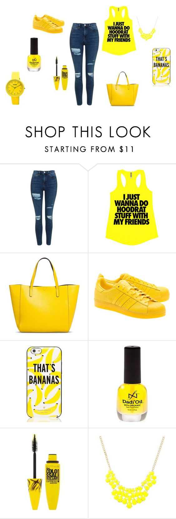 """Yellow"" by lamisslove on Polyvore featuring mode, Topshop, Merona, adidas Originals, Kate Spade, Maybelline et Target"