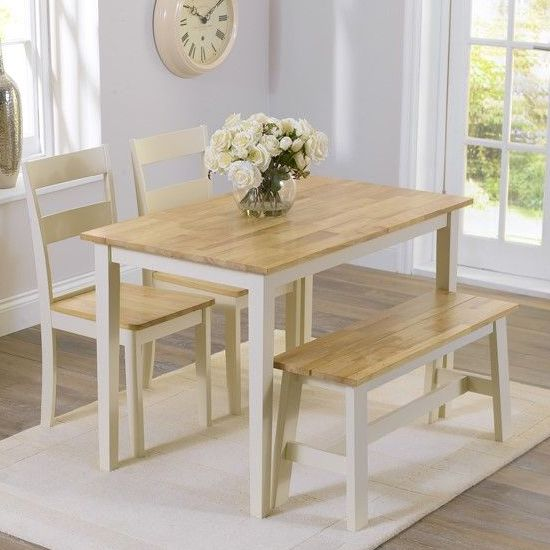 Broman Oak And Cream Dining Set With 2 Chairs And 1 Bench Furniture In Fashion Narrow Dining Tables Dining Room Small Dining Table With Bench