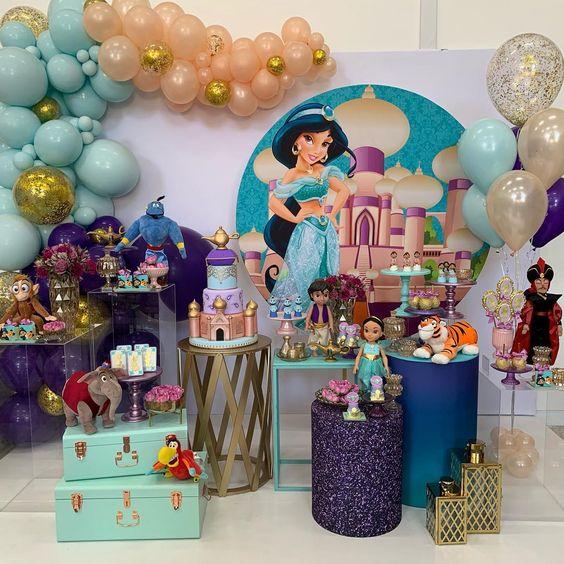 Painel Redondo - Festa Aladdin e Jasmine