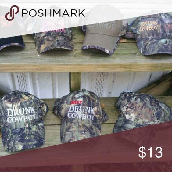 Lot of 4 drunk cowboy camo hats Selling the three on the bottom row and the one on top to the far right with orange writing. All for $13 need gone Drunk Cowboy Accessories Hats